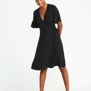 Old Navy | Black Flutter Sleeve Wrap Dress